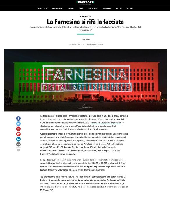 huffington post farnesina digital art experience
