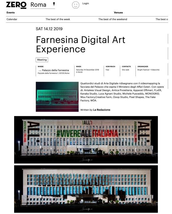 zero roma farnesina digital art experience